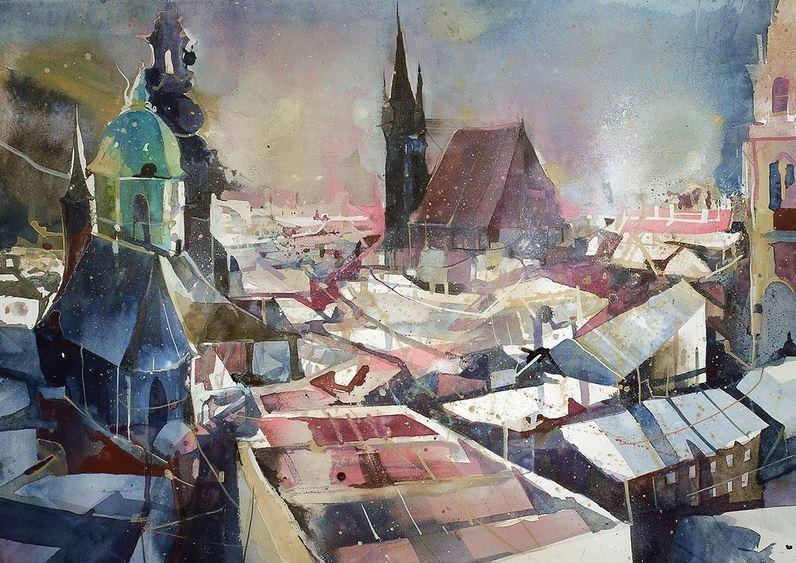 Bernhard Vogel. Городской пейзаж акварель. Salzburg von den Bischofsarkaden