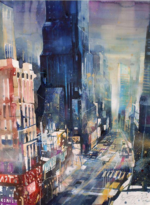 Bernhard Vogel. Городской пейзаж акварель. Times Square. 76х56
