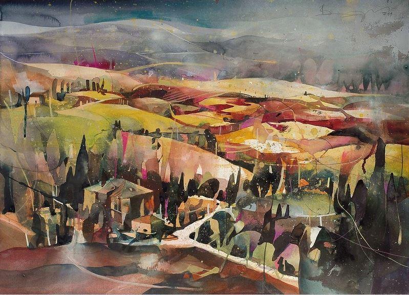 Bernhard Vogel. Городской пейзаж акварель. Tuscany south