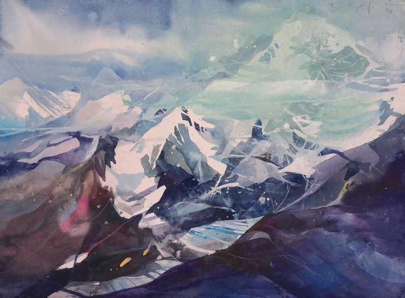 Bernhard Vogel. Городской пейзаж акварель. Zermatt, Breithorn. 54х76