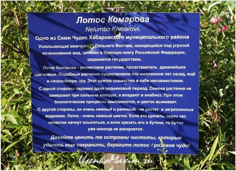 Информационный щит у озера