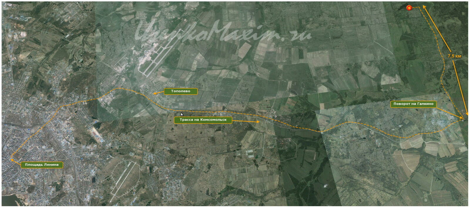 Схема проезда к озеру лотосов. От площади Ленина почти до Галкино