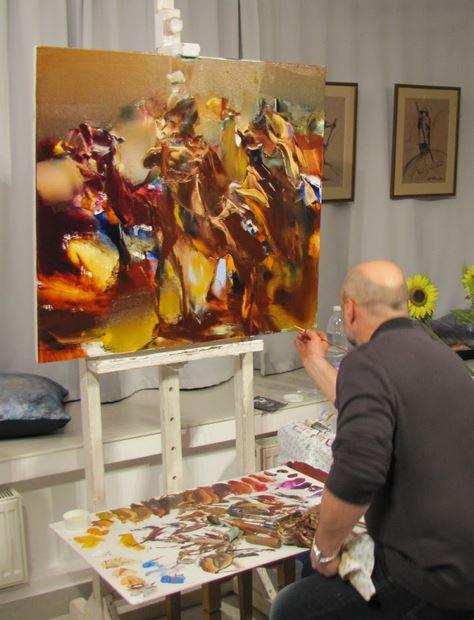 Валерий Блохин в мастерской