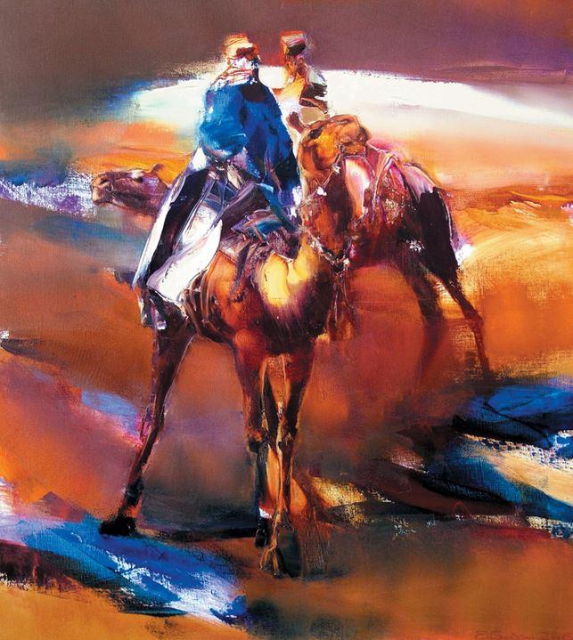 Валерий Блохин. Яркая живопись на грани абстракции. Бедуины. 100х90 холст масло