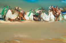Валерий Блохин. Яркая живопись на грани абстракции. Белые верблюды. 100х130 холст масло