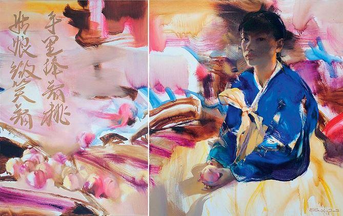Валерий Блохин. Яркая живопись на грани абстракции. Девушка с персиками