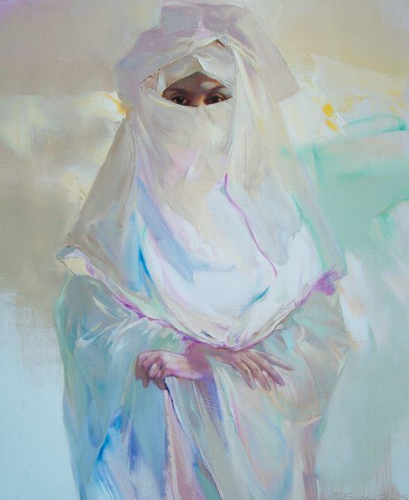 Валерий Блохин. Яркая живопись на грани абстракции. Девушка в белом. 110х90 холст масло