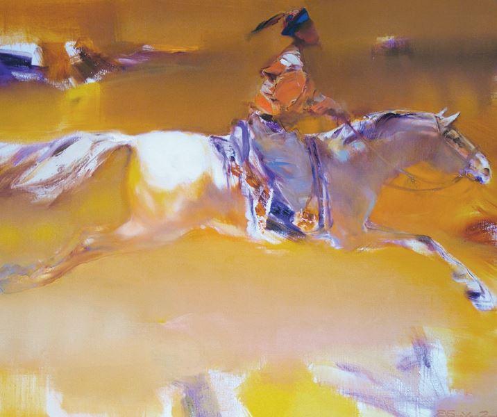 Валерий Блохин. Яркая живопись на грани абстракции. Гонец из Поднебесной. 100х120 холст масло