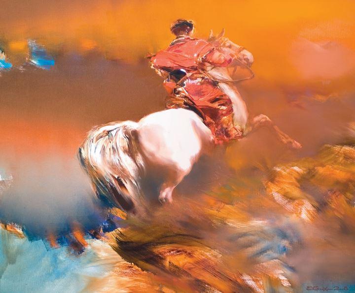 Валерий Блохин. Яркая живопись на грани абстракции. Гонец. 100х120 холст масло