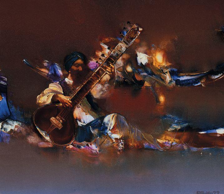 Валерий Блохин. Яркая живопись на грани абстракции. Индия. Прощание. 70х80 холст масло
