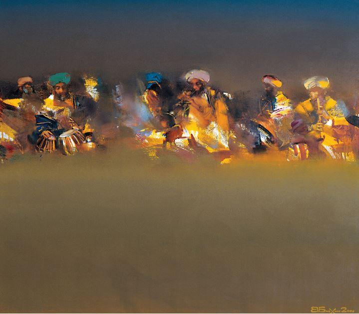 Валерий Блохин. Яркая живопись на грани абстракции. Индия. Вечерняя рага. 70х80 холст масло
