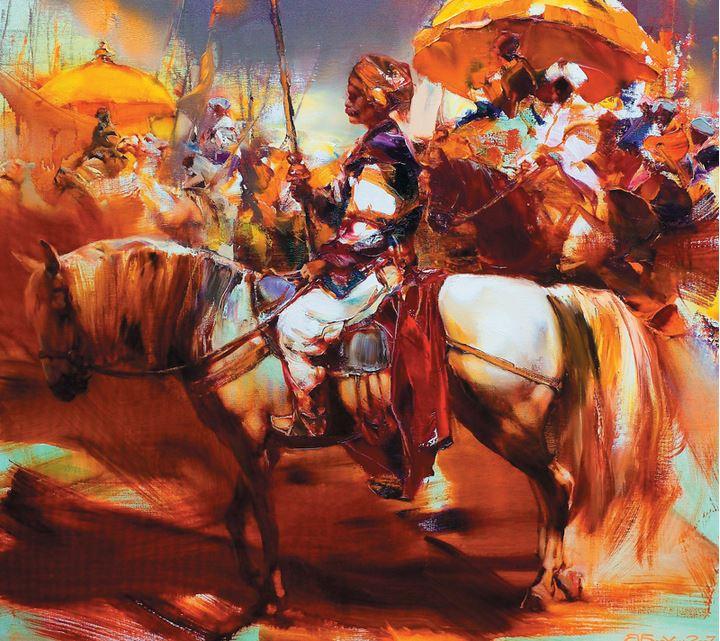 Валерий Блохин. Яркая живопись на грани абстракции. Индийский воин. 90х100 холст масло