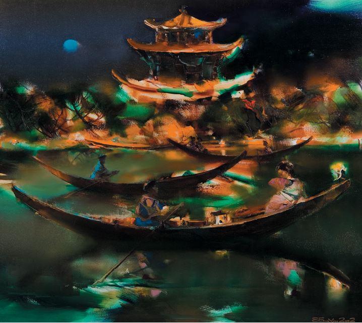 Валерий Блохин. Яркая живопись на грани абстракции. Китай. Золотой храм. 80х90 холст масло