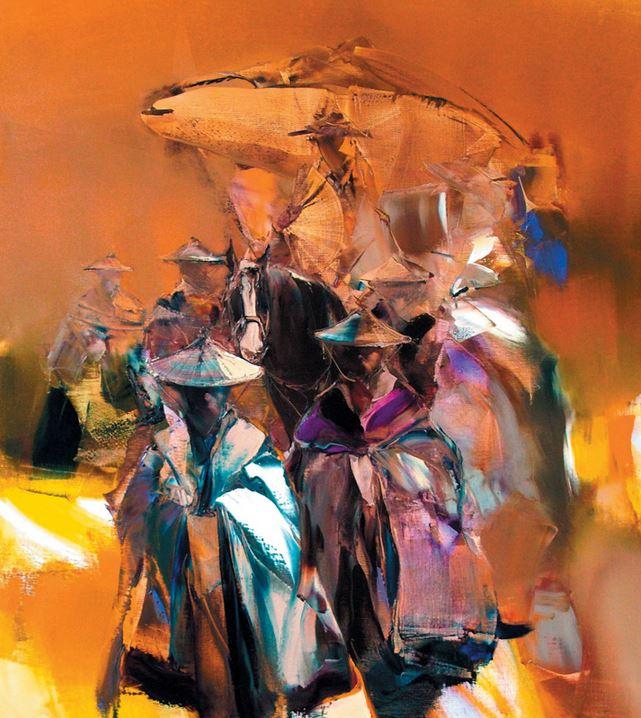 Валерий Блохин. Яркая живопись на грани абстракции. Китайская принцесса. 100х90 холст масло