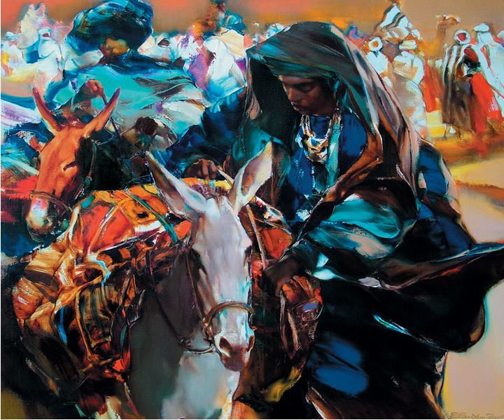 Валерий Блохин. Яркая живопись на грани абстракции. Кочевники. 100х1200 холст масло