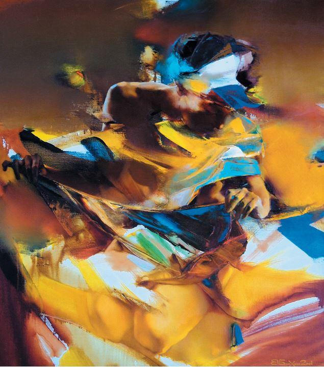 Валерий Блохин. Яркая живопись на грани абстракции. Купальщица. 90х80 холст масло