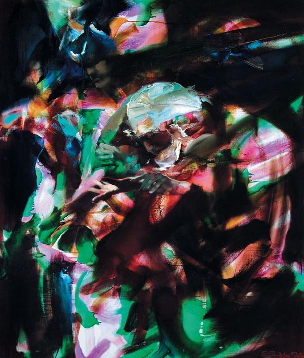 Валерий Блохин. Яркая живопись на грани абстракции. Вьетнам. Гадалка 105х90 холст масло