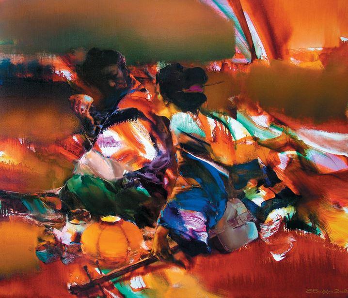 Валерий Блохин. Яркая живопись на грани абстракции. Воин и гейша. 90х105 холст масло