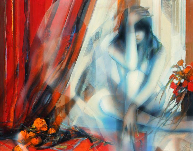 Jean-Baptiste Valadie. Необычные женские портреты. Rideau rouge