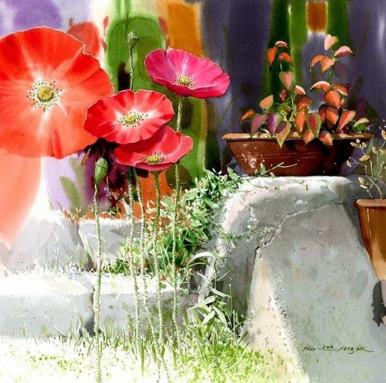 Корейский акварелист Shin Jong Sik. Цветы акварелью. Восьмые