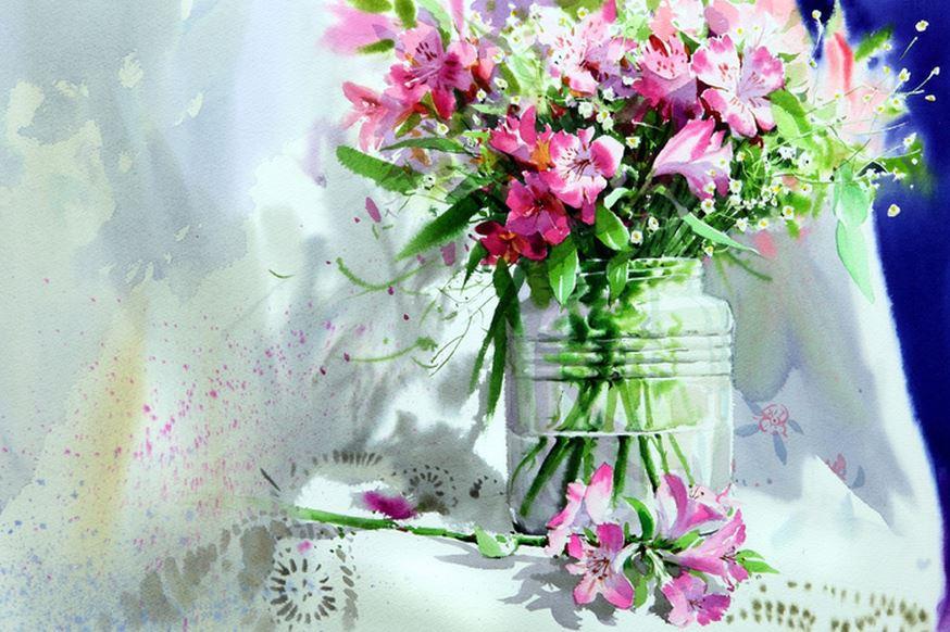 Корейский акварелист Shin Jong Sik. Цветы акварелью. Одинадцатые